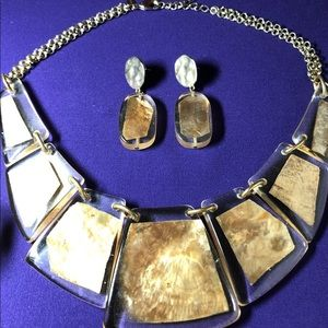CHICO'S 3 Pc SET-Gold Shell, Resin, Textured Metal